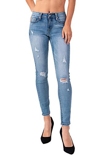 Women's Junior Premium Stretchy Ripped Distressed Curvey Skinny Denim Jeans (5, -