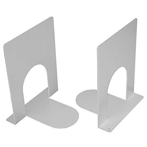 A10SHOP Ares 1 Heavy Gauge Metal Bookends, Non Skid Base -Set of 2 (White) Coated Metal Bookends Non Skid