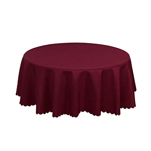 uxcell Burgundy Polyester Round Tablecloth Cover Water/Oil Stain Resistant 63 Inch for Wedding Dining Party Decor from uxcell