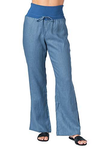 Mariyaab Women's Wide Leg Fold Over 100% Linen Pants with Drawstring tie (003A, DenimBlue, 14)