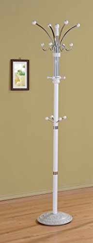 Coat Stand Wood and Metal WHITE