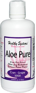 Aloe Pure 5000 Best Tasting Organic Aloe Vera Juice Drink - Cran-Grape Flavor