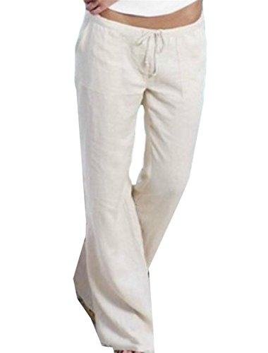 Yayu Womens Wide Leg Yoga Linen Elastic Waist Drawstring Long Pants White XL