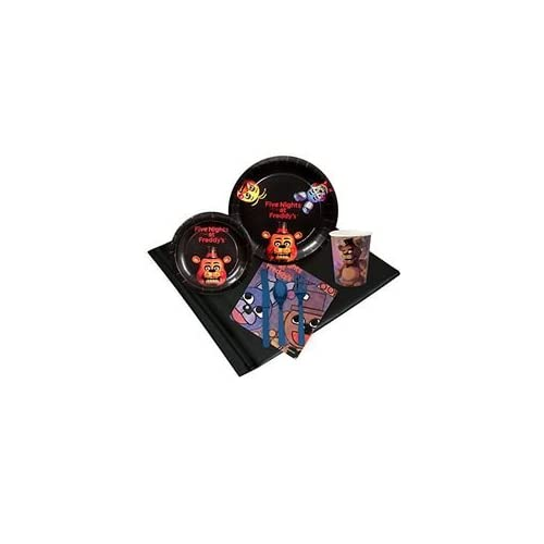 Five Nights at Freddy's Party Supplies - Party Pack for 8 Guest - Dinner Plate Dessert Plate Table Cover Napkin Cutlery Cup