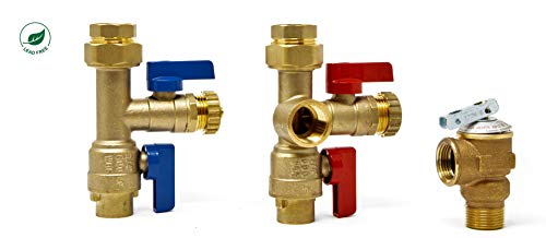 Libra Supply 3/4 inch Lead Free Isolation Valve Kit with Pressure Relief Valve for Rheem Tankless Water Heater, FNPT x Sweat, 3/4'' Service Valve for Rinnai, Ecosmart, Navien, Noritz, Takagi, Bosch (Stainless Steel Pressure Relief Valves)