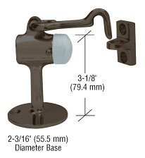 C.R. LAURENCE DL2521DU CRL Dark Bronze Floor Mounted Heavy Duty Door Stop with Hook and Holder by C.R. LAURENCE