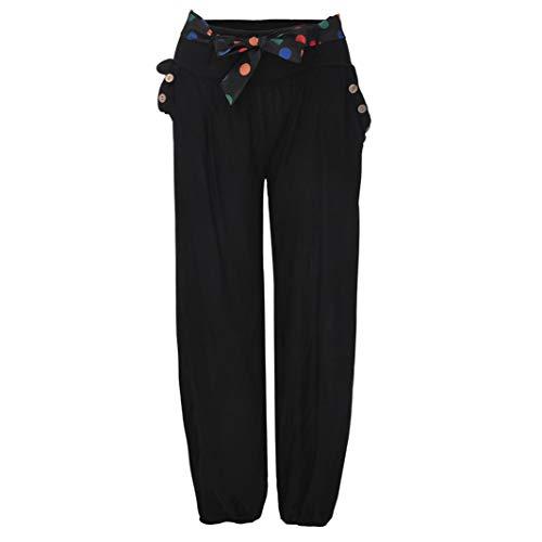 Negro Pantalones Pantalones Cintura de Ancha Pierna Anchos Boho Mujeres de Sólidas CICIYONER Casual de de Baja Yoga Capri de YFxUqn8
