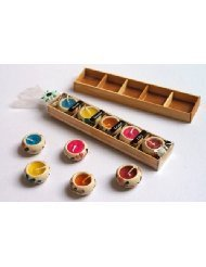 Thai Spa Candle : Relaxed Aroma Candle in Circle Ceramic with Wooden Box (5 Pcs.) Made in Thailand (Pack of 2)