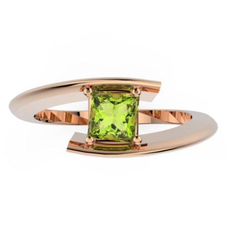 HABY PRINCESSE Bagues Or Rose 18 carats Peridot Vert 0,8 Princesse