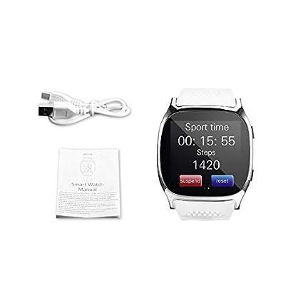 Lovelysunshiny T8 Bluetooth Reloj Inteligente con cámara Reproductor de música Soporte 2G Tarjeta SIM TF Tarjeta
