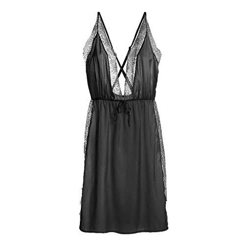 Elegante Mini Ropa Dormir Pijamas Camisón Vestido Espalda Mangas Descubierta Verano Off Sling Sin Sólidos Colores De Negro Encaje Shoulder Mujer Moda Splice AfEpSHSqw