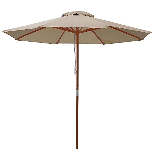 - Yescom 9ft Wooden Outdoor Patio Table Umbrella W/Pulley Market Garden Yard Beach Deck Cafe Decor Sunshade