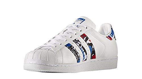 adidas Superstar, Zapatillas para Hombre Blanco (Footwear White / Blue / Core Black)
