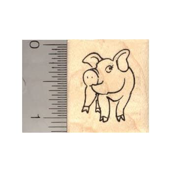 amazon com small pig rubber stamp arts crafts sewing
