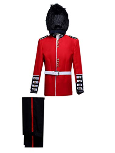 ROLECOS Mens British Royal Guard Soldier Fancy Dress Medieval Performing Costume Asian L Red]()