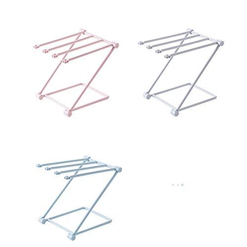 Badezimmer-Tuch-Zahnstangen Plastikfalten-Tuch-Standplatz-Zahnstange 4 Schichten K/üche-waschender Tuch-Entleerungsorganisator-Regal hellrosa