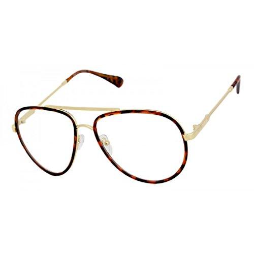 Classic Metal & Plastic Aviator Eyeglasses Frame / Clear Lens Sunglasses (Brown Tortoise & Gold Frame, Clear)