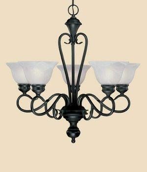 Millennium Lighting 675 BK Devonshire - Five Light Chandelier, Black Finish with Faux Alabaster Glass