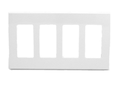 Leviton 80312-SW 4-Gang Decora Plus Wallplate Screwless Snap-On Mount, White