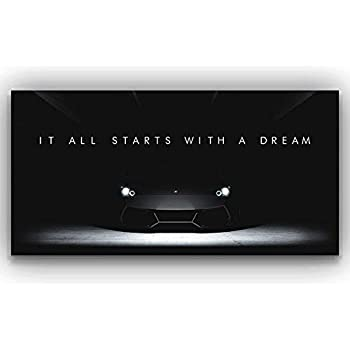 Lamborghini Dreams Office Decor Motivational Wall Art Canvas Print Inspirational Quote Supercar 24 X 48