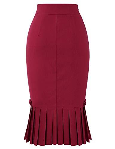 Bodycon Hepburn Style High Stretch Skirts Pleated Burgundy Women's 1950s MUXXN Audrey IE0wxS
