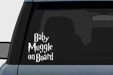 Harry Potter Baby Muggle on Board Vinyl Decal Sticker (5.5'' inches (White)