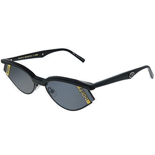 (Fendi GENTLE Fendi No. 1 FF 0369 807 Black Plastic Cat Eye Sunglasses Grey)