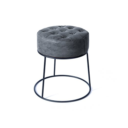 Art-Leon Small Round Ottoman Stackable Footstool Leather Pouf Ottoman Foot Rest for Living Room,Vanity,Dorm,Apartment Gray