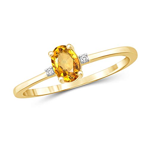 (Jewelexcess 0.40 Carat T.G.W. Citrine and Accent White Diamond 14k Gold Over Silver Ring)
