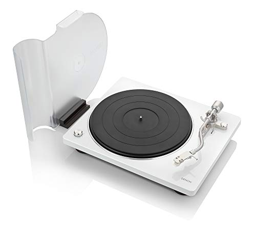 Denon DP-400 (White) Semi-Automatic Analog Turntable with Speed Auto Sensor | Specially Designed Curved Tonearm | Supports 33 1/3. 45, 78 RPM (Vintage) Speeds | Modern Looks, Superior Audio -  DP400WT