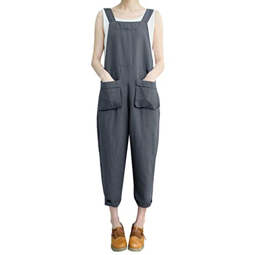 Playsuit One (ANJUNIE Women Sleeveless Dungarees Loose Cotton Linen Long Playsuit Party Jumpsuit(1-Gray,XXXXXL))