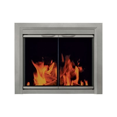 Pleasant Hearth CB-3300 Colby, Sunlight Nickel, Small Fireplace Glass Door