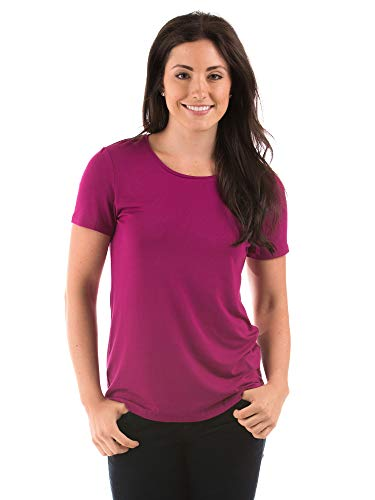 Texere Women's Short Sleeve T-Shirt (Spring Zing, Boysenberry, L) Top Loungewear