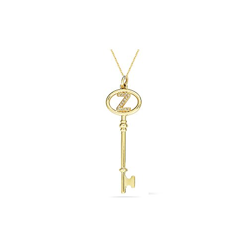 0.04-0.07 Cts SI2 - I1 clarity and I-J color Diamond & Gold Initial Key Pendant in 14K Yellow Gold (Diamond Key Cts Pendant)