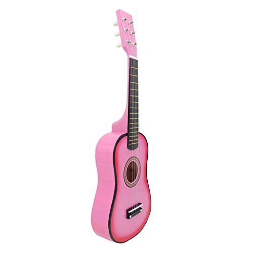 Baosity Finest Solid Wood 21inch 6 String Acoustic Guitar Musical Instrument for Kids Beginners Students Christmas Birthday Gift - Pink