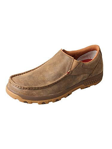 Twisted X Men's CellStretch D Toe Driving Mocs Casual Slip-On Shoes - Bomber Brown (Mens Driving Moc Slip)