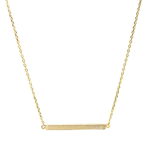 Spinningdaisy Handcrafted Brushed Metal Abstract Bar Necklace Gold (Gold Bar Necklaces compare prices)