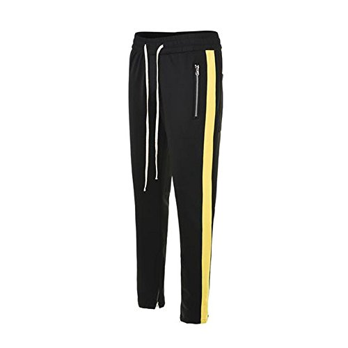 ONCEGALA Men's Side Stripe Ankle Zip Drawstring Trackpants (Black/Yellow, S) (Black Suit Multi Stripe)