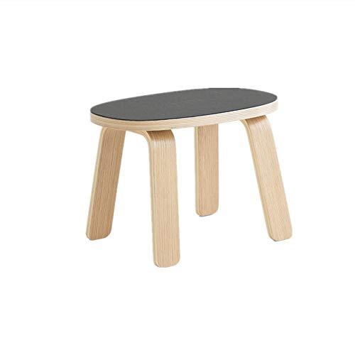 NBRTT Decorative Short Stool, Solid Oak Handmade Footstool, Hard Wood Stool Small Wooden Pastel Colors for Kitchen, Bedroom, Living Room, Or Bathroom,Black (Furniture Durability Wood Acacia)