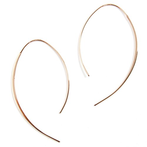 Humble Chic Upside Down Hoops - Hypoallergenic Lightweight Open Wire Needle Drop Dangle Threader Earrings, 24K Yellow, Gold-Electroplated by Humble Chic NY (Image #3)