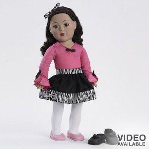 Dollie & Me Zebra Skirt Brunette Doll