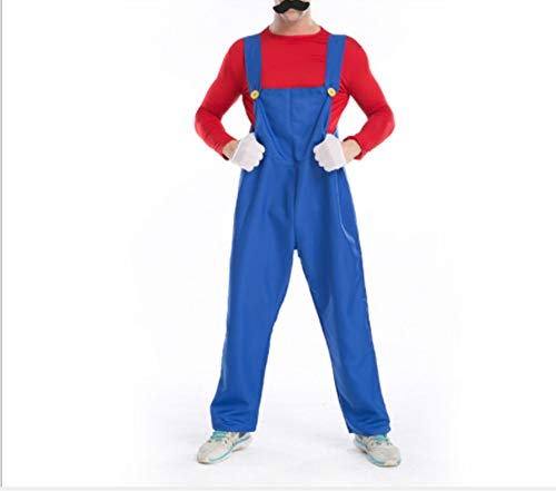 Mitef Unisex Super Mario Luigi Brothers Cosplay Costume for Adult, Red, L