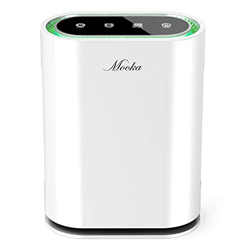 Mooka True HEPA Air Purifier, 6-point Filteration, Large Room Air Purifiers for Allergies, Pets, Smoke & Mold, Smart Odor Eliminator, Ionic Air Cleaner & UV Sterilizer for Bedroom, Office, Whole House
