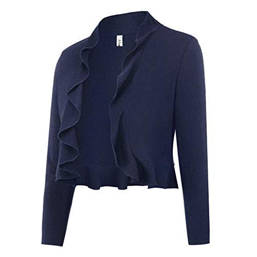 Abollria Women's Cropped Bolero Shrug Ruffle Design Open Front Cardigan Navy Blue