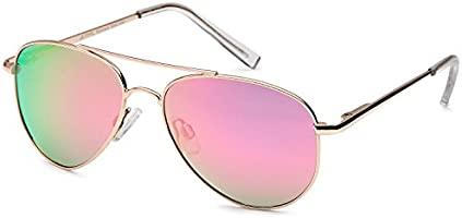 JETPAL Kids Polarized Classic Metal Aviator Style Sunglasses with Spring Hinges