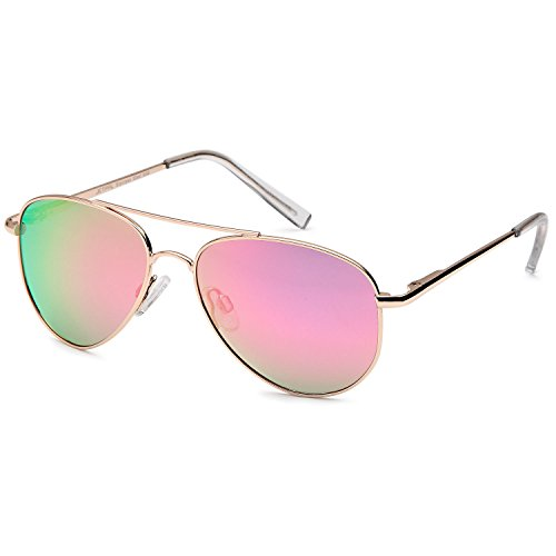 JETPAL Kids Polarized Classic Metal Aviator Style Sunglasses with Spring - Kids Sunglasses