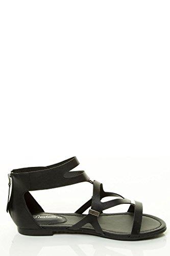 Sandalo Gladiatore Donna Taglio Breckelles Rubino-61 Nero