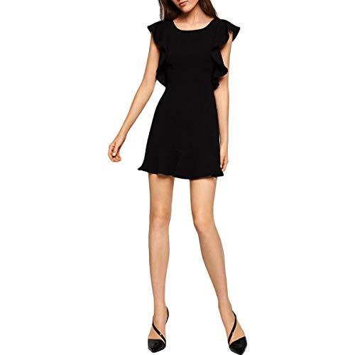 BCBGeneration Women's Ruffle Deep V-Back Dress, Black, 2 from BCBGeneration