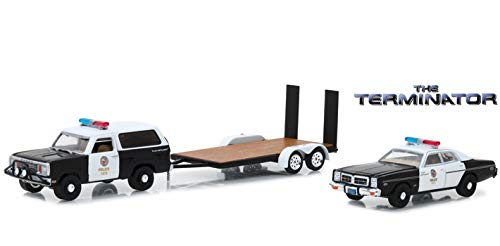 Greenlight Hollywood Hitch & Tow Series 5 The Terminator 1977 Dodge Ram Charger with 1977 Dodge Monaco Metropolitan Police on Flatbed Trailer 1/64 Diecast Vehicle