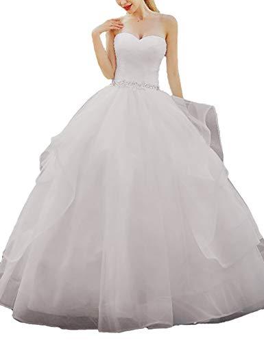 Asoiree Women's Sweetheart Neck Strapless Wedding Crystal Ball Gown Sleeveless Prom Dress Long